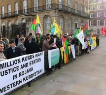 Londra`da Başbakanlık önünde Rojava eylemi yapıldı